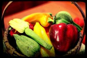 verdure di stagione raccolte nell'orto