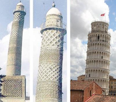 La torre di Pisa e il minareto pendente di Mossul